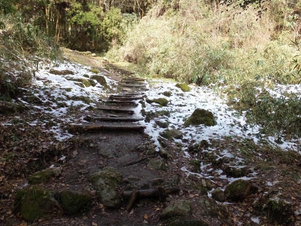 二上山登山道の雪