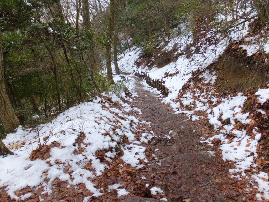 二上山登山道の雪だらけ